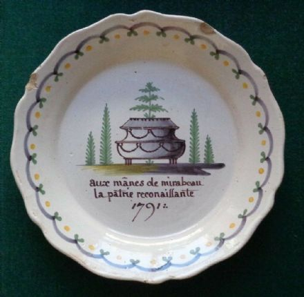 Antique French Revolution Faience Plate Count Mirabeu Support Monarchy 1790